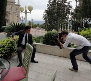 A photoshoot outside of the Hotel de Paris in Monte Carlo