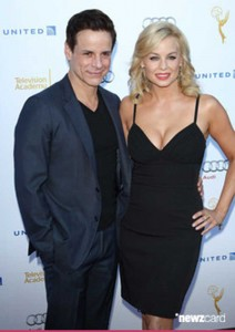 on the red carpet with Jessica Collins