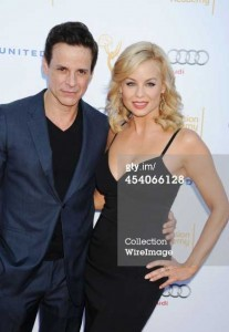 with Jessica Collins on the red carpet