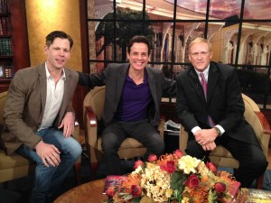 With Christopher Rice and Eric Paulsen at WWL in NOLA