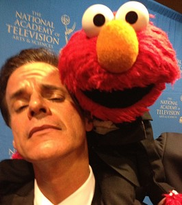 With Elmo on the red carpet